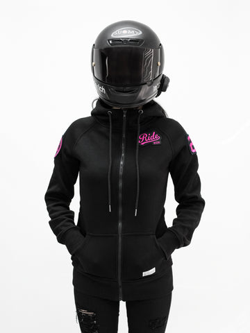 Women's Squad Patched Scuba Zip Hoodie {Pink}