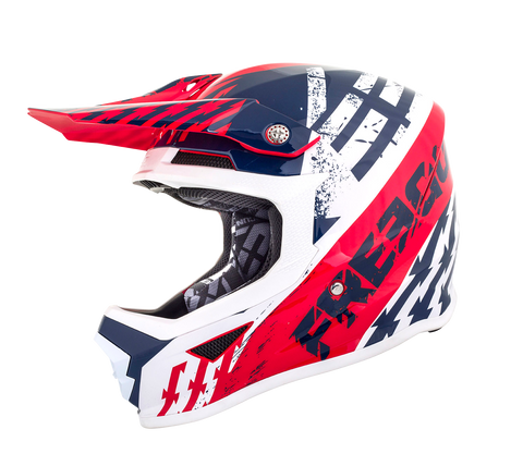CASQUE CROSS FREEGUN XP4 BLEU ROUGE