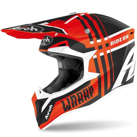 CASQUE CROSS AIROH WRAAP BROKEN ORANGE MAT