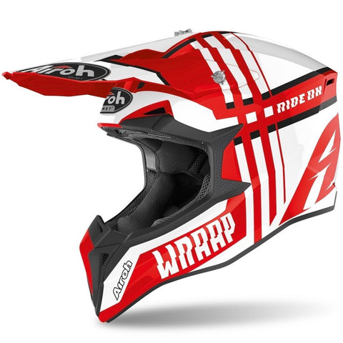 CASQUE CROSS AIROH WRAAP BROKEN ROUGE BRILLANT