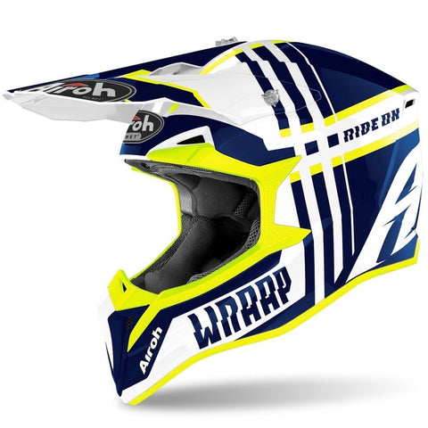 CASQUE CROSS AIROH WRAAP BROKEN BLEU BRILLANT