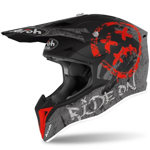 CASQUE CROSS AIROH WRAAP SMILE ROUGE MAT