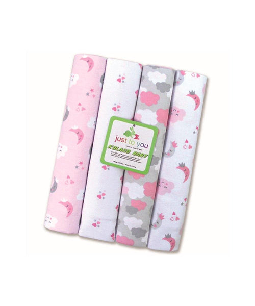 iLoveSIA Newborn Swaddle Receiving Blanket Muslin Swaddle Blanket, 4-Count, Assorted