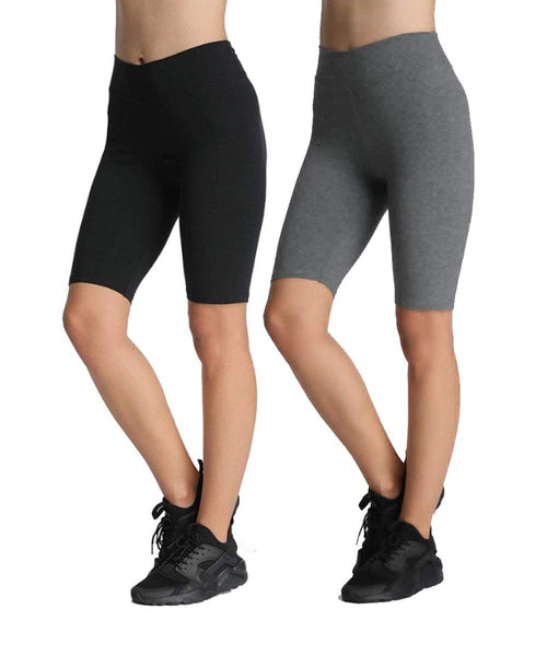 iLoveSIA 2 Pack Women's High Waisted Yoga Shorts  Legging Non-See Through Black+Gray