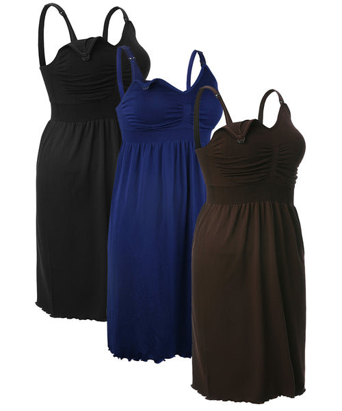 iLoveSIA 3-Pack S-XXXL Women's Nursing Nightgown Sleep Dress Black+Coffee+Blue