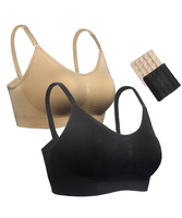 iLoveSIA Full Bust Seamless Nursing Maternity Bras Bralette S-XL with Extra Bra Extenders & Clips 2PACK - iLoveSIA