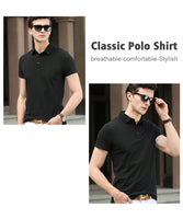 iLoveSIA Men's Short Sleeve Polo Shirts Plain Cotton Collar T-Shirts - iLoveSIA