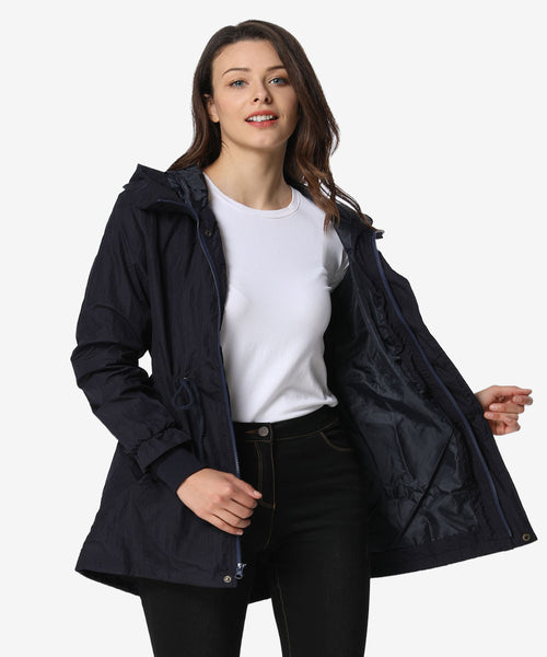 iLoveSIA Military Jackets for Women Rain Trench Coat with Hood-front view