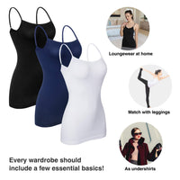 iloveSIA 2PACK Women's Tank Top Spaghetti Straps Smooth Cami Undershirt