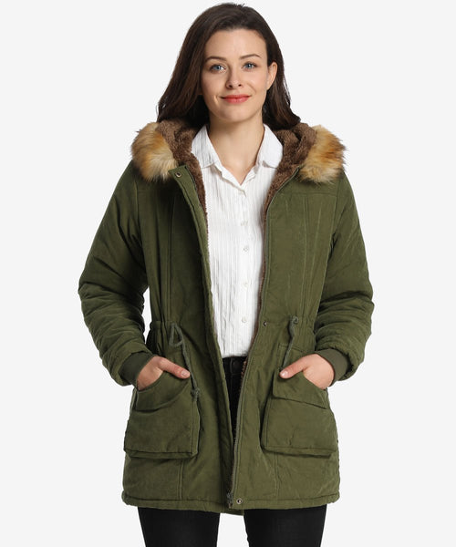 iLoveSIA Winter Parka Coats for Women with Faux Fur Hood - iLoveSIA