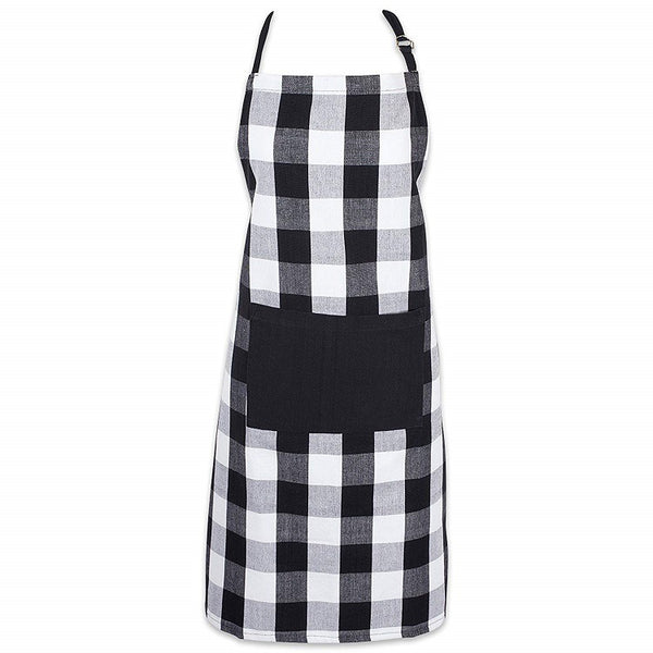 "iLoveSIA Cotton Adjustable Buffalo Check Plaid Apron with Pocket & Extra-Long Ties, 32 x 28"", Men and Women Kitchen Apron for Cooking, Baking, Crafting, Gardening, & BBQ"