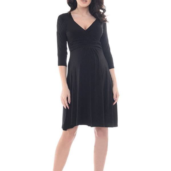 iLoveSIA Comfortable V Neck Wrap 3/4 Sleeve Knee-length Maternity Dress - iLoveSIA