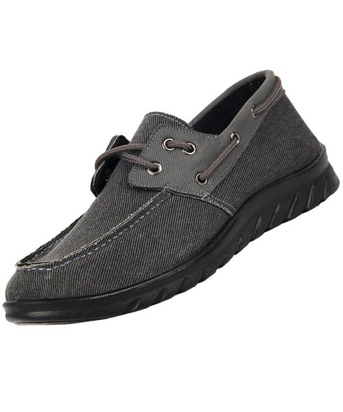 iLoveSIA Men's Comfortable Classic Loafer Canvas 2-Eye Boat Shoes-lateral  view