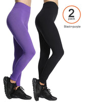 ILoveSIA athletic yoga leggings Black+purple