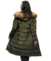 iLoveSIA Women Outdoor Long Cold-proof Coat with Thicken Faux Fur-Trimmed Hood 6286-A3 - iLoveSIA