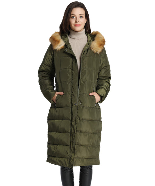 iLoveSIA Womens Puffer Long Coat Maxi Parka with Fur Trimmed Hood - iLoveSIA