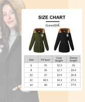 iLoveSIA Womens Winter Warm Outwear Coats with Faux Fur Hood Jackets - iLoveSIA