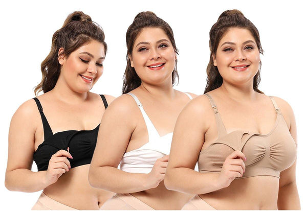 iloveSIA 3PACK Plus Size Nursing sleep Bra Soft Breast Feeding Bra - iLoveSIA