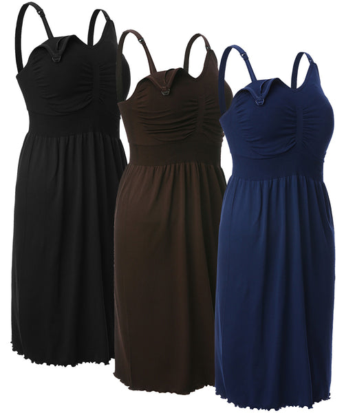 iLoveSIA Women's Maternity Breastfeeding Dress Nursing Nightgown Pack of 3