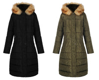 iLoveSIA Women Quilted Coat Maxi Parka with Fur Trim Hood 6286-A1 - iLoveSIA