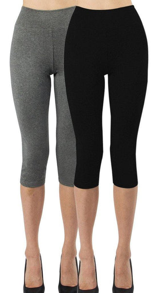 iLoveSIA 2-Pack Women's 3/4 Yoga Leggings Cotton Workout Pants - iLoveSIA