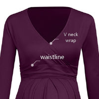details of v neck wrap maternity dress