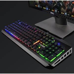 (Bundle) SADES Blademail V2 Black Gaming Keyboard Backlit Water Resistant Wired USB 104 Keys + Multi Lights Gaming Mouse