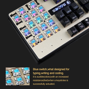 SADES BaleFire Mechanical Blue Switches Gaming Gold Keyboard