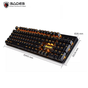 SADES K10 Orange Real Mechanical Blue Switches Gaming Keyboard