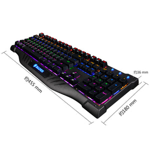 SADES Night Shadow Real Mechanical Blue Switches Ultimate Gaming Keyboard extra attached USB/audio/mic PORTS with 11 Back-Light Effects Metal Panel