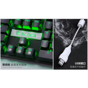 SADES K10 Green Real Mechanical Blue Switches Gaming Keyboard
