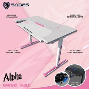 SADES Pink Alpha Carbon Fiber with USB Adjustable Professional Gaming Table