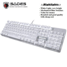 Load image into Gallery viewer, SADES K10 V2 White Light Mechanical Blue Switches Professional Gaming Keyboard
