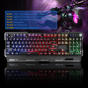 (Bundle) SADES Blademail Wired Gaming Keyboard with Flash Wing Mouse 19 non-conflict keys, Metal Material, 7 Colors Blacklight