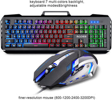 Load image into Gallery viewer, (Bundle) SADES Blademail V2 Black Gaming Keyboard Backlit Water Resistant Wired USB 104 Keys + Multi Lights Gaming Mouse