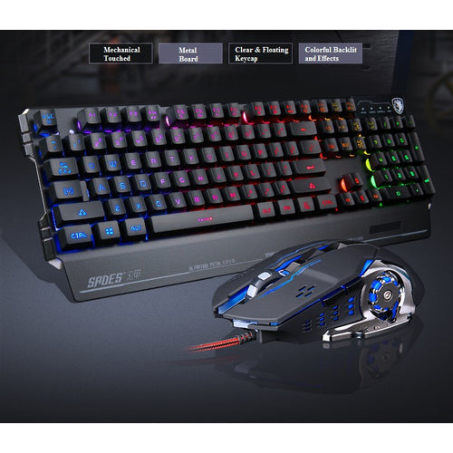 (Bundle) SADES Blademail 19 Non-conflict Keys 7 Colors Backlit Metal Material Wired USB Gaming Keyboard with Flash Wing Gaming Mouse