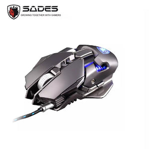 SADES Spirit Blade Pro Gaming USB Mouse (White, Gold, Grey)