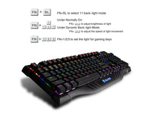 Load image into Gallery viewer, SADES Night Shadow Real Mechanical Blue Switches Ultimate Gaming Keyboard extra attached USB/audio/mic PORTS with 11 Back-Light Effects Metal Panel