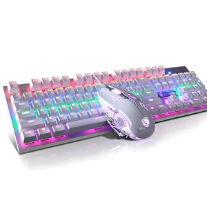 (Bundle) SADES BaleFire White Blue Switches 9 Backlight Modes 104 Keys Real Mechanical Keyboard with Gaming Mouse
