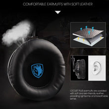 Load image into Gallery viewer, SADES Locust Plus 7.1 Surround Sound Headphones USB Gaming Headset Soft-leather Headband