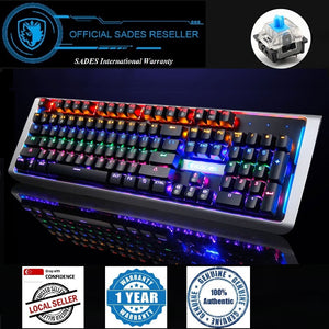 SADES MoonBlade Real Mechanical Blue Switches Multi-backlit Steel Board 104 Keys Wired USB Gaming Keyboard