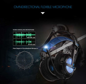 SADES Locust Plus 7.1 Surround Sound Headphones USB Gaming Headset Soft-leather Headband