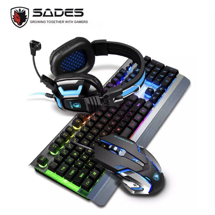 (Bundle) SADES Whispering Metal Panel Backlit USB Gaming Keyboard+Mouse+Headset