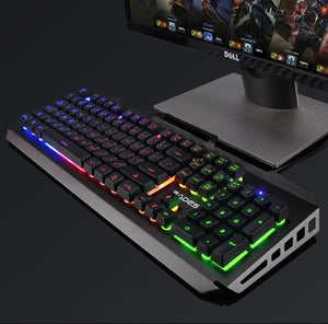 (Bundle) SADES Blademail V2 White Gaming Keyboard Backlit Water Resistant Wired USB 104 Keys + Multi Lights Gaming Mouse