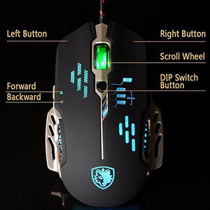 SADES Flash Wing(Black) Wired Gaming Mouse 4 Adjustable DPI Levels 6 Circular Breathing LED Light 6 Buttons for MAC&PC