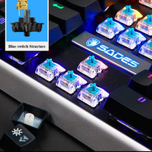 Load image into Gallery viewer, SADES MoonBlade Real Mechanical Blue Switches Multi-backlit Steel Board 104 Keys Wired USB Gaming Keyboard