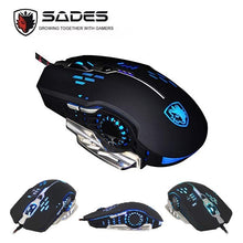 Load image into Gallery viewer, SADES Flash Wing(Black) Wired Gaming Mouse 4 Adjustable DPI Levels 6 Circular Breathing LED Light 6 Buttons for MAC&PC