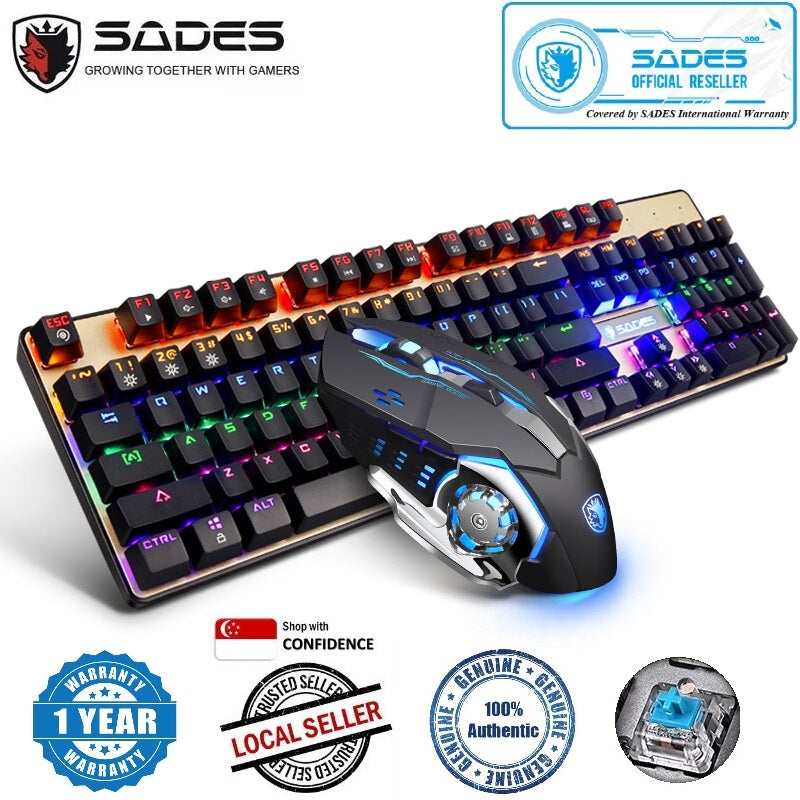(Bundle) SADES BaleFire Black Blue Switches 9 Backlight Modes 104 Keys Real Mechanical Keyboard with Gaming Mouse