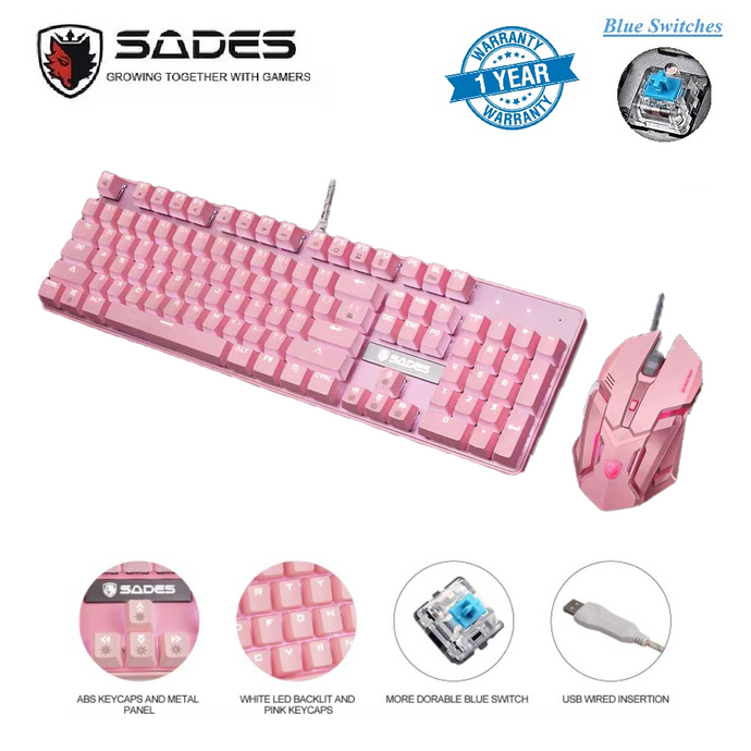 (Bundle) SADES BaleFire V2 Pink Mechanical Blue Switches Backlit 104 Key Wired USB Gaming Keyboard with Pink Gaming Mouse