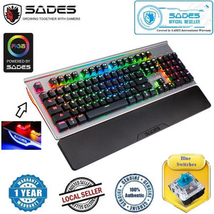 SADES MoonStar V2 RGB Light Mechanical Blue Switches Metal Panel 104 Keys Wired Gaming Keyboard